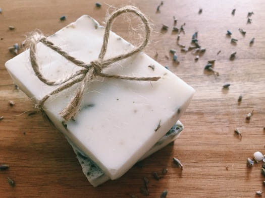 Lavender and chamomile homemade soap