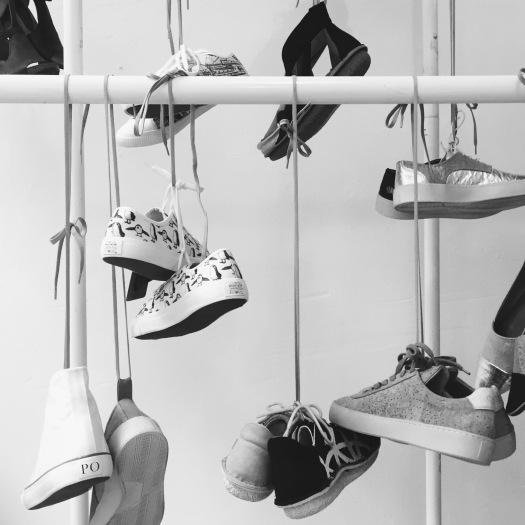 Pozu's vegan footwear collection on display